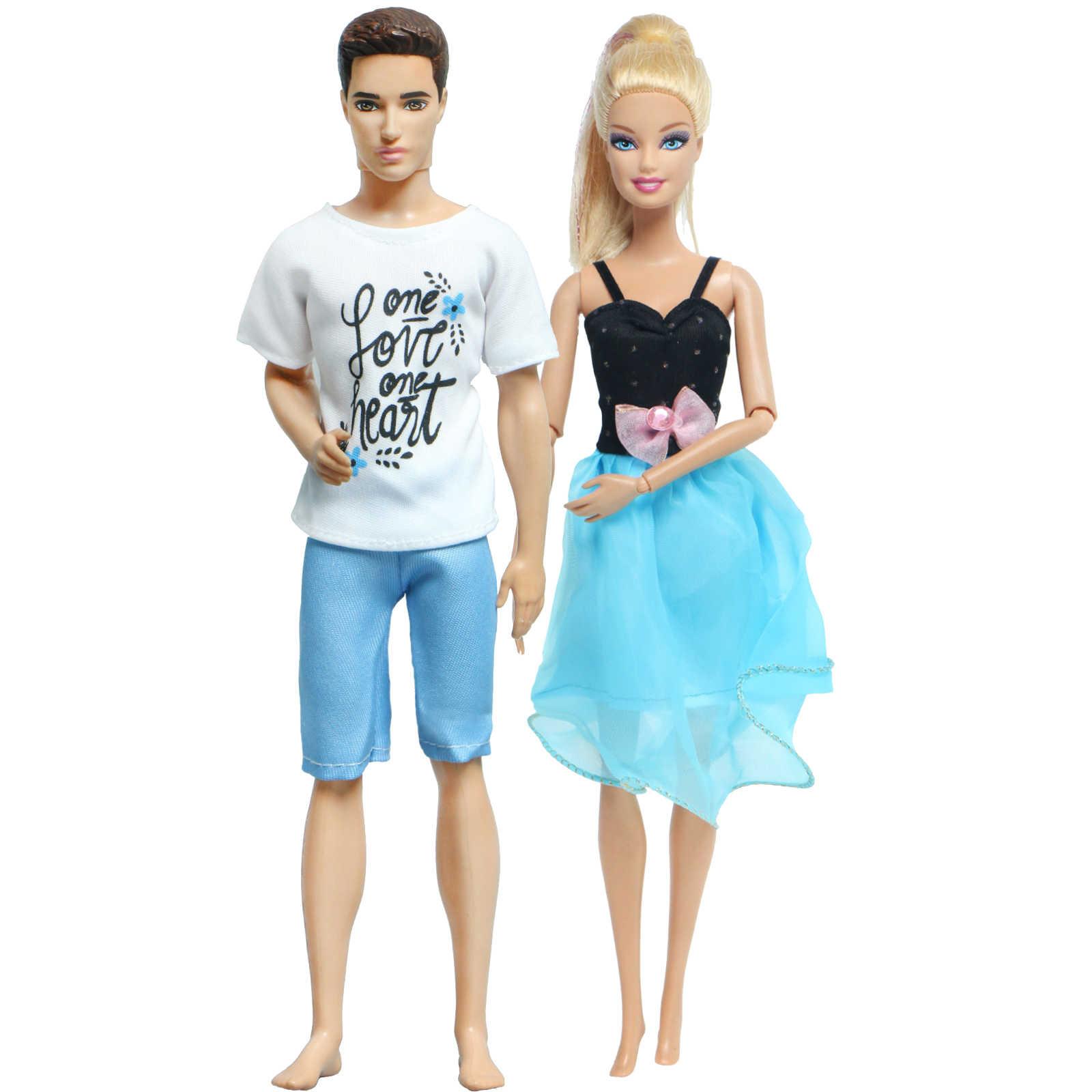 ชุด 2 Pcs/ชุดตุ๊กตาฤดูร้อนชุดมินิสั้นชุดกระโปรงสำหรับตุ๊กตาบาร์บี้ตุ๊กตา + ตุ๊กตาKenเสื้อยืดกางเกงเสื้อผ้าอุปกรณ์เสริม