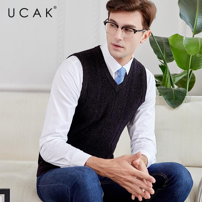 UCAK Brand Sweater Vest Men 2019 New Arrival Casual Solid Striped Pure Merino Wool Streetwear Pull Homme Winter Sweaters U3116