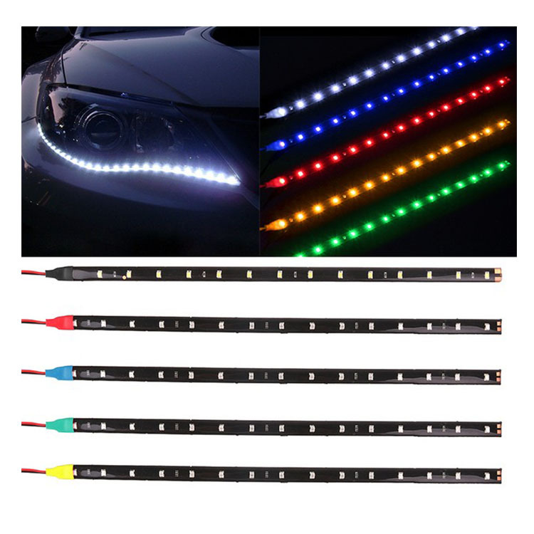 Automotive <font><b>LED</b></font> Light <font><b>Bar</b></font> 12V <font><b>30</b></font> <font><b>Cm</b></font> 3528/1210 15smd <font><b>LED</b></font> Waterproof Soft Light Belt di pan deng image