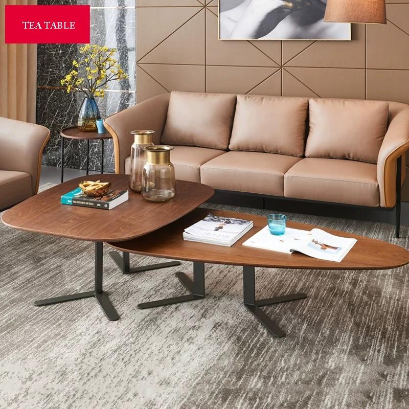 Nordic Luxury Wooden Coffee Table Set