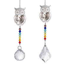 3D Owl Suncatcher Aurora Borealis Window Hang Chandelier Prisms Rainbow Beads Chakra For Christmas Tree Pendant