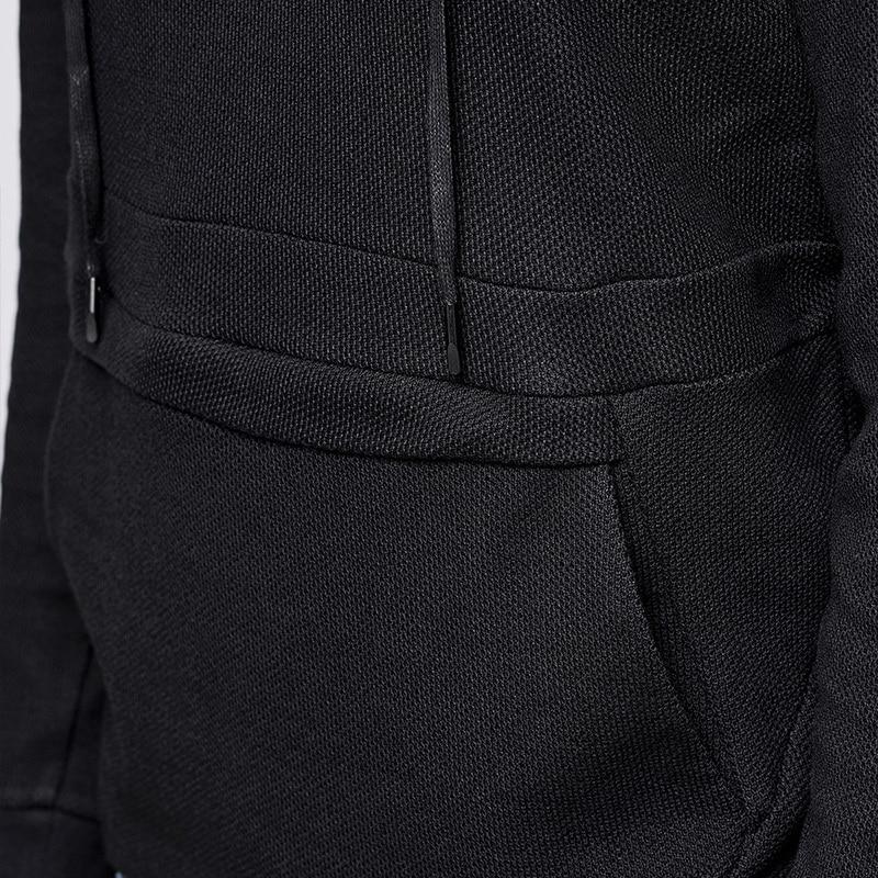 KUEGOU 2019 Осенняя хлопковая однотонная черная толстовка с капюшоном Мужская модная Толстовка в стиле хип хоп Японская уличная одежда мужские ... - 5