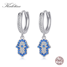 Kaletine 925 Sterling Silver Hamsa Hoop Earrings for Women Blue Eye Lucky Turkish Earring Cubic Zircon Fashion Jewelry 2019