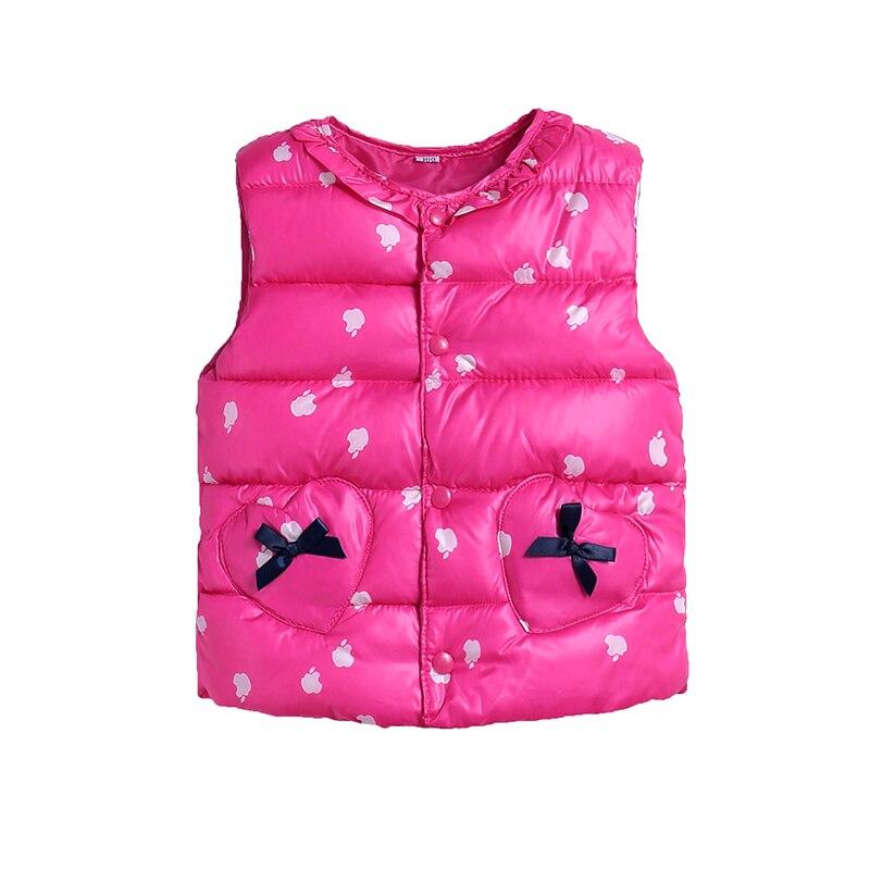Милый жилет с хлопковой подкладкой ярких цветов для детей, зимний легкий жилет в горошек для маленьких девочек, выходящее теплое пальто для детей, топ для мальчиков - Цвет: rose red