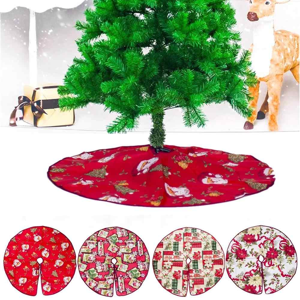 Lovely Printed Christmas Tree Skirt Aprons 60cm/90cm Santa Claus Decoration for Home Xmas Tree Skirt New Year