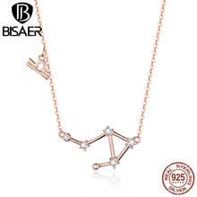 BISAER Libra Necklace 925 Sterling Silver Constellation Series Rose Gold Color Pendant Necklaces for Women Gifts Bijoux GAN022 bisaer 100%real 925 sterling silver rose gold color heart apple sakura shape pendant necklace for women fashion gift hsn313