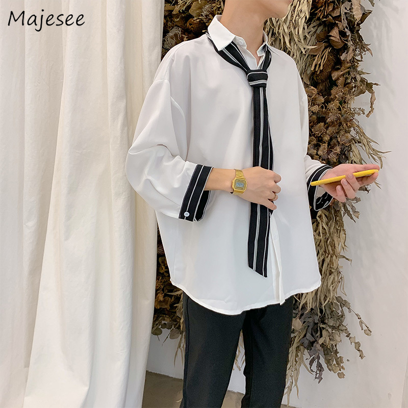 White Shirt Men Shirts Solid Plus Size Long Sleeve Tops Harajuku Clothing Mens Korean Style Casual Males Hot Sale Comfortable