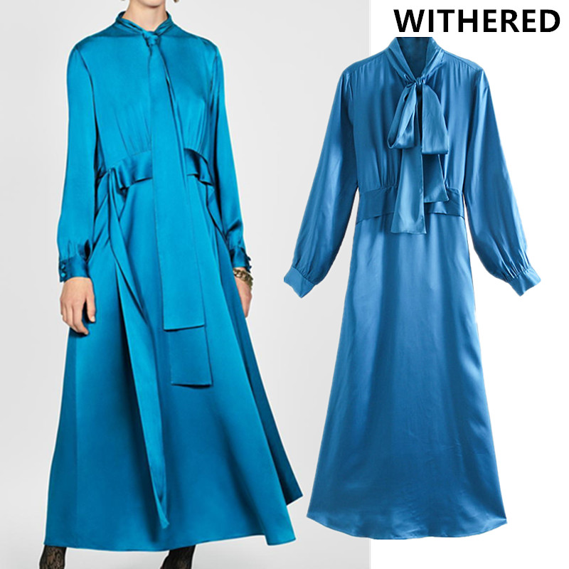 Withered England Style Solid Sashes Bow Satin Midi Party Dress Women Vestidos De Fiesta De Noche Vestidos Long Dress Tops Blazer