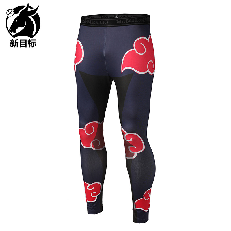 AliExpress 2019 Spring New Style Men's Trousers Elasticity Tight Yoga Pants Digital Xiangyun 3D Printed Sports Fitness Pants
