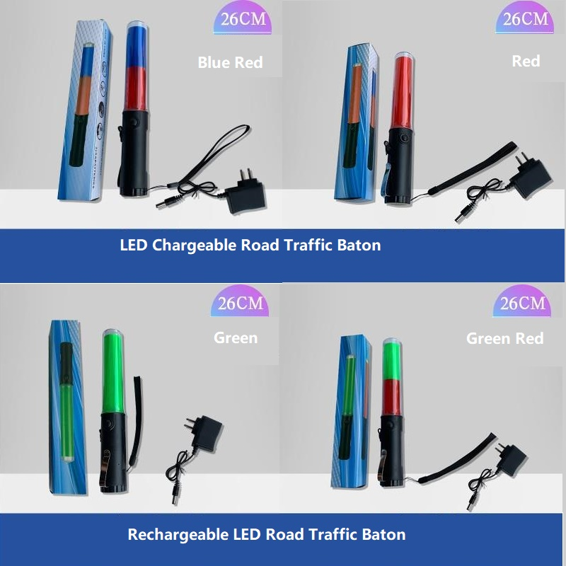 26CM/30CM Rechargeable LED Fire Control Fluorescent LED Road Traffic Police Safety Command Baton Evacuation Lifesaving Indicator