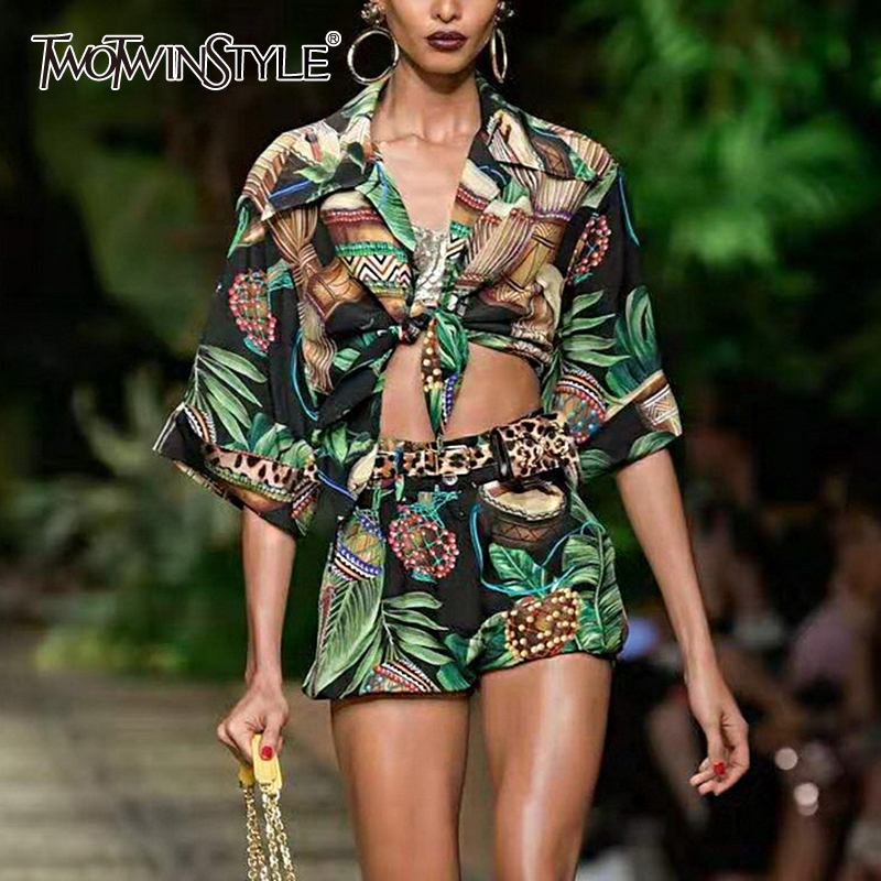 TWOTWINSTYLE Casual Print Two Piece Set Female Lapel Collar Short Sleeve High Waist Lace Up Shorts Prairie Chic Style Suit Women