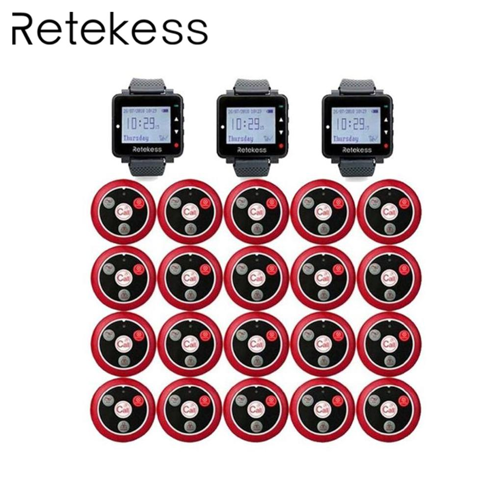 RETEKESS Restaurant Waiter Calling System Wireless Table Bell Pagers 3 Watch Receiver 20 Call Button Customer