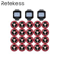 RETEKESS Restaurant Waiter Calling System Wireless Table Bell Pagers 3 Watch Receiver + 20 Call Button Customer Service Beepers цена