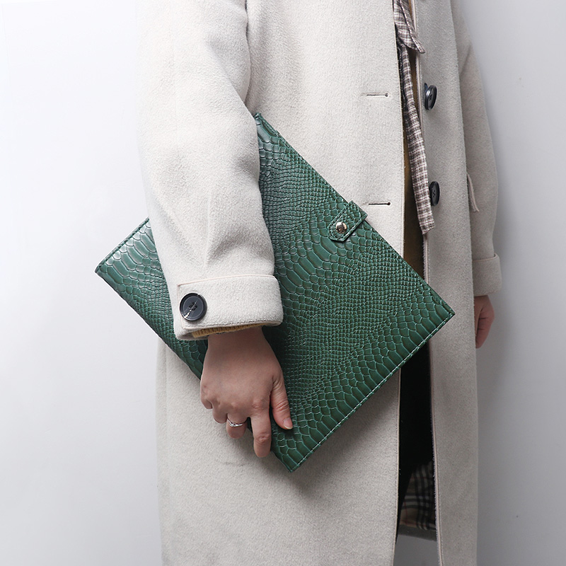 New Design Business Briefcase Women Crocodile/Ostrich Pattern File Folder New Portfolio File Document A4 File Bag