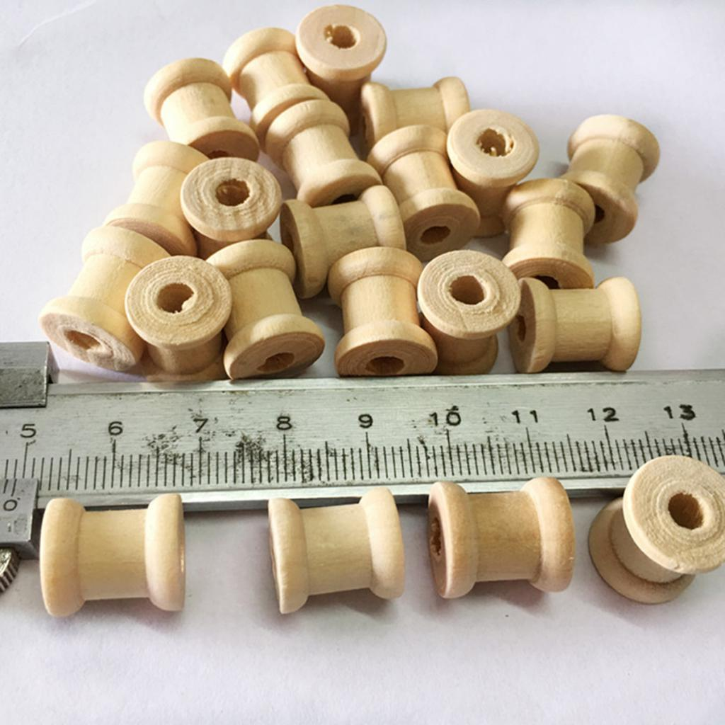 100 шт., деревянные пустые нитки, шпули, Классические шпули для шитья своими руками, 14х12 мм