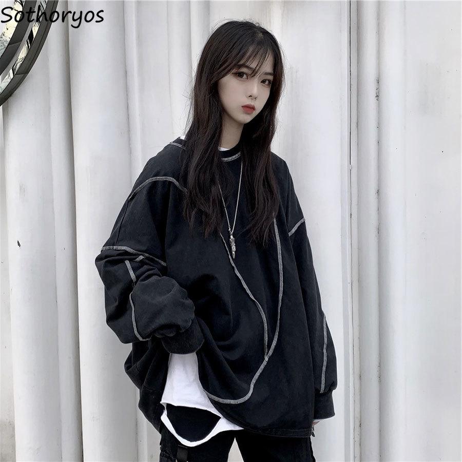 Женские толстовки унисекс, уличная одежда, корейский стиль, для студентов, модная Повседневная Удобная универсальная Толстовка Оверсайз в ...