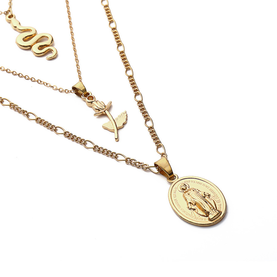 Ingemark Vintage Virgin Mary Pendant Choker Necklace Charm Golden Rose Flower Angel Snake Long Chain Necklace for Women Sweater 12