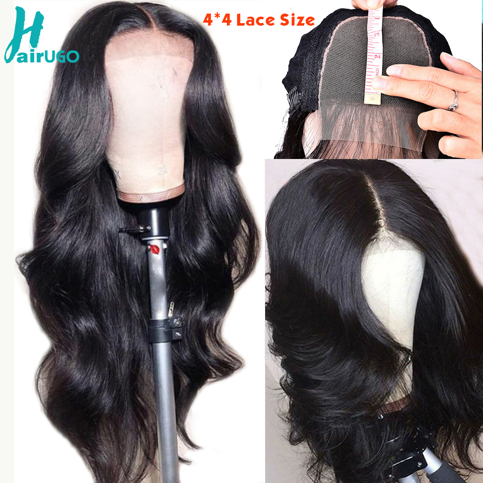 HairUgo Human Hair Wigs Body Wave Hair Wig 4*4 Lace Closure Wig Peruvian Remy Lace Wigs Pre Plucked Hairline For Black Women