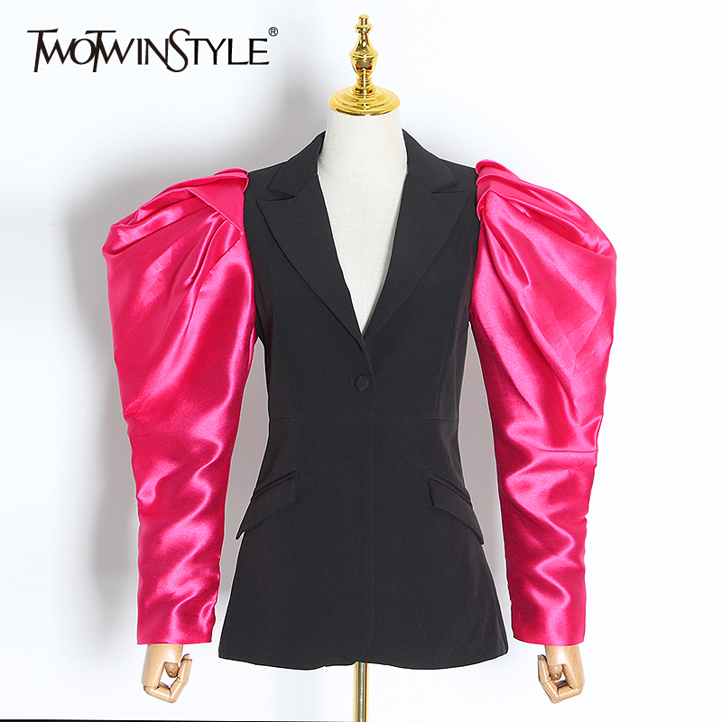 TWOTWINSTYLE Casual Patchwork Hit Color Women Blazer Notched Puff Long Sleeve Tunic Ruched Female Suits Clothes 2020 Fashion New