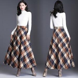 Image 5 - HAYBLST marka etek kadın 2019 sonbahar kış artı Size3XL zarif kore tarzı moda ekose uzun bel uzun giyim kalınlaşma