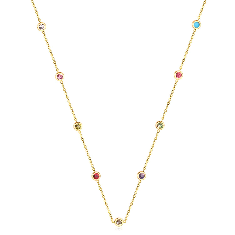 LUXUKISSKIDS yuvarlak zirkon kolye kolye altın renk paslanmaz çelik uzun 57cm + 5cm bağlantı zincirleri kolye kostüm aksesuarları