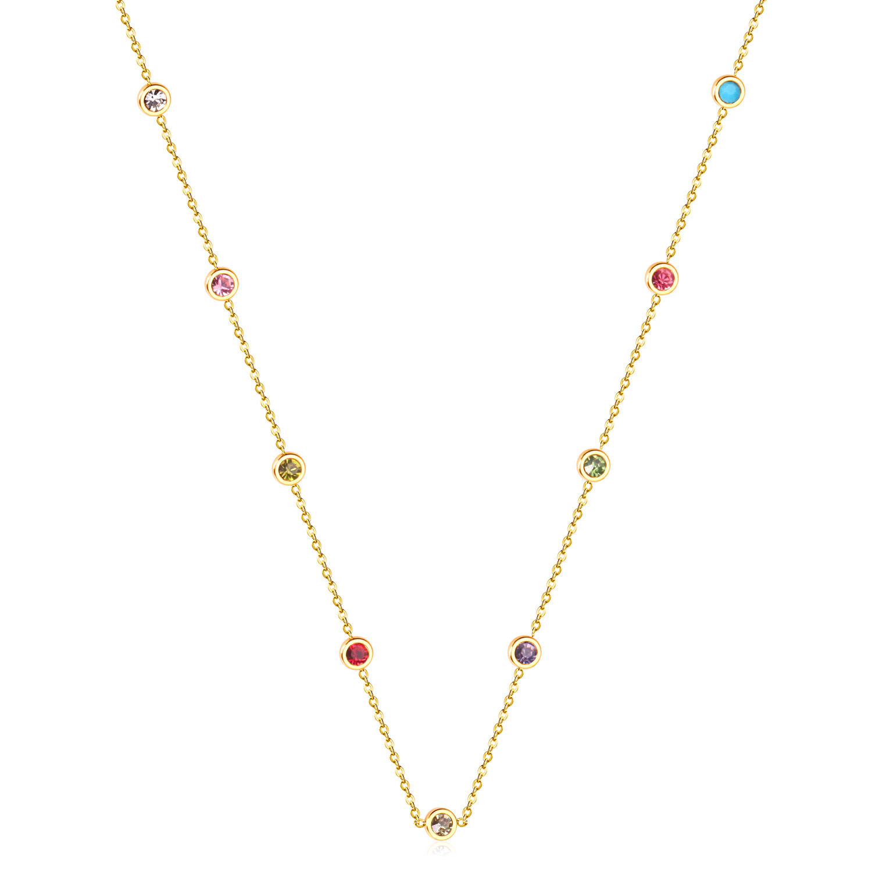 LUXUKISSKIDS Round Zircon Pendants Necklaces Gold Color Stainless Steel Long 57cm+5cm Link Chains Necklaces Costume Accessories