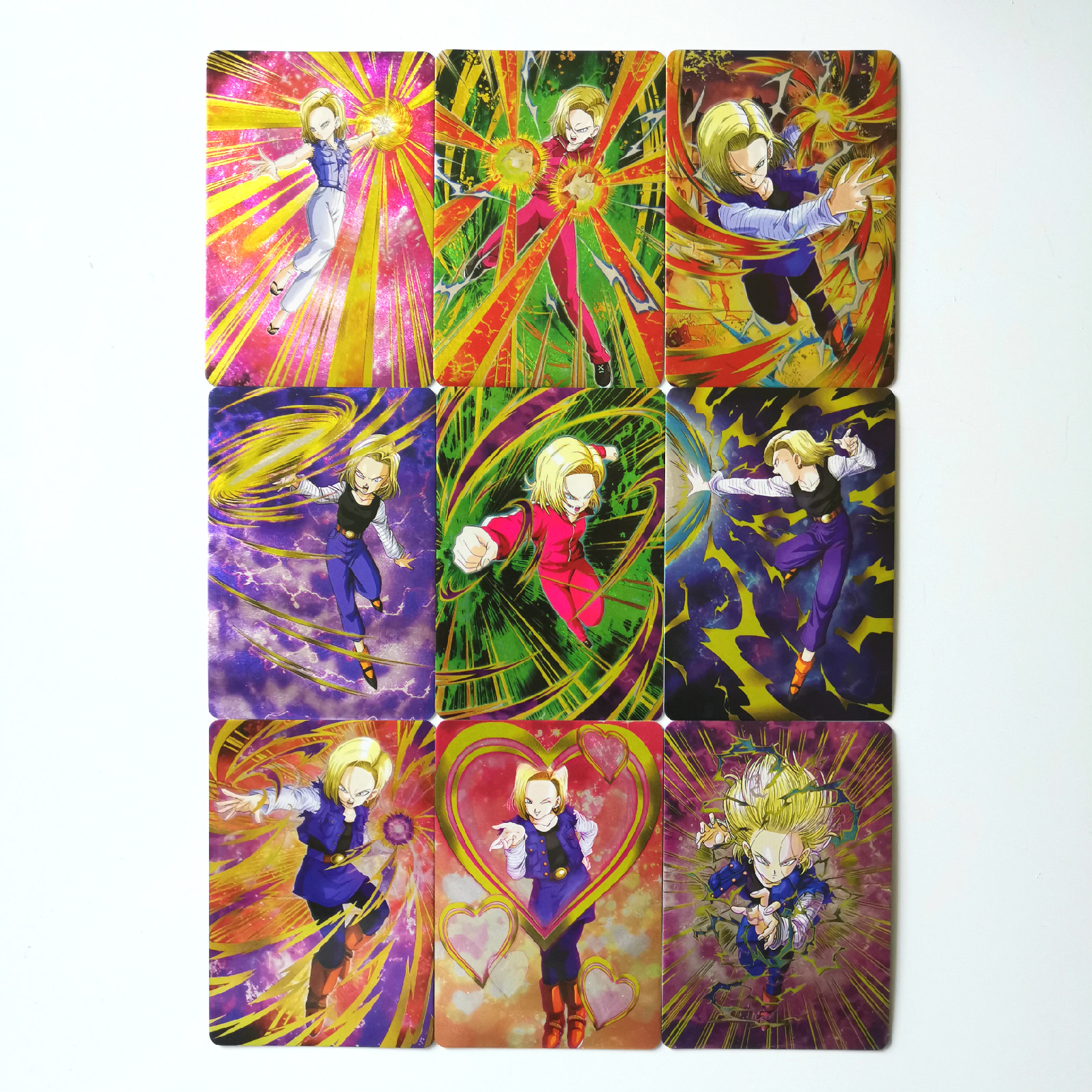9pcs/set Android 18 Super Dragon Ball Z Heroes Thick Flash Battle Card Ultra Instinct Goku Vegeta Game Collection Cards
