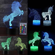 Unicorn series Remote / Touch Control 3D LED Night Light  LED Table Desk Lamp Kids Christmas Gift Home Decor