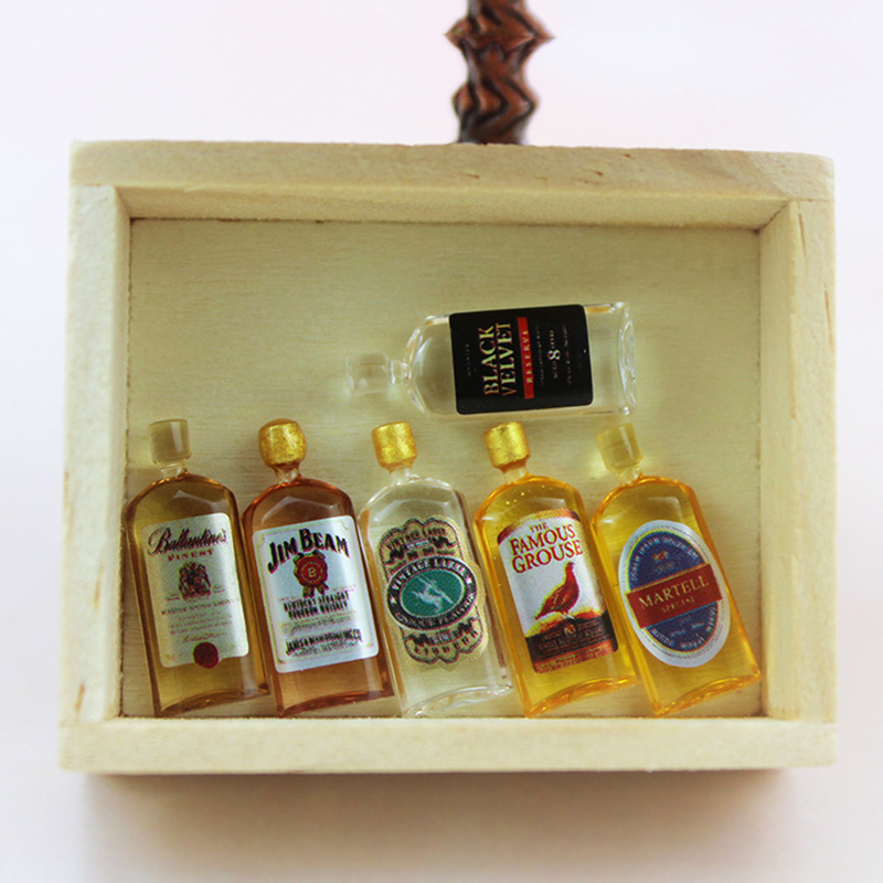 1:12 Scale Dollhouse Miniature  Whisky Champagne Wine Drink Bottles Model Kitchen Pretend Play Doll Food Toy Dolls Decorations