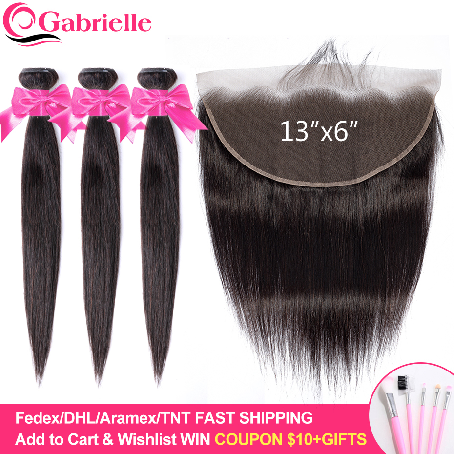 Gabrielle Hair Brazilian Straight Bundles With 13x6 Frontal Human Hair Weave Bundles With Frontal Closure Remy Hair Extensions