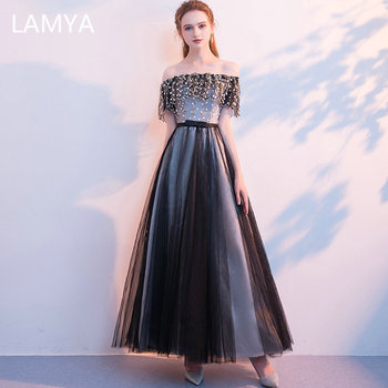 LAMYA Back Sexy Boat Neck Evening Dresses Fashionable Embroidery Evening Gowns For Women Long A Line Prom Gowns vestido de festa