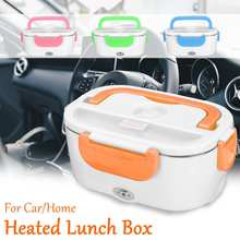 Portable Electric Heating Food Warmer Container Lunch Box Stainless Steel Home Bento Storage Heated Kids Dinnerware Car EU Plug