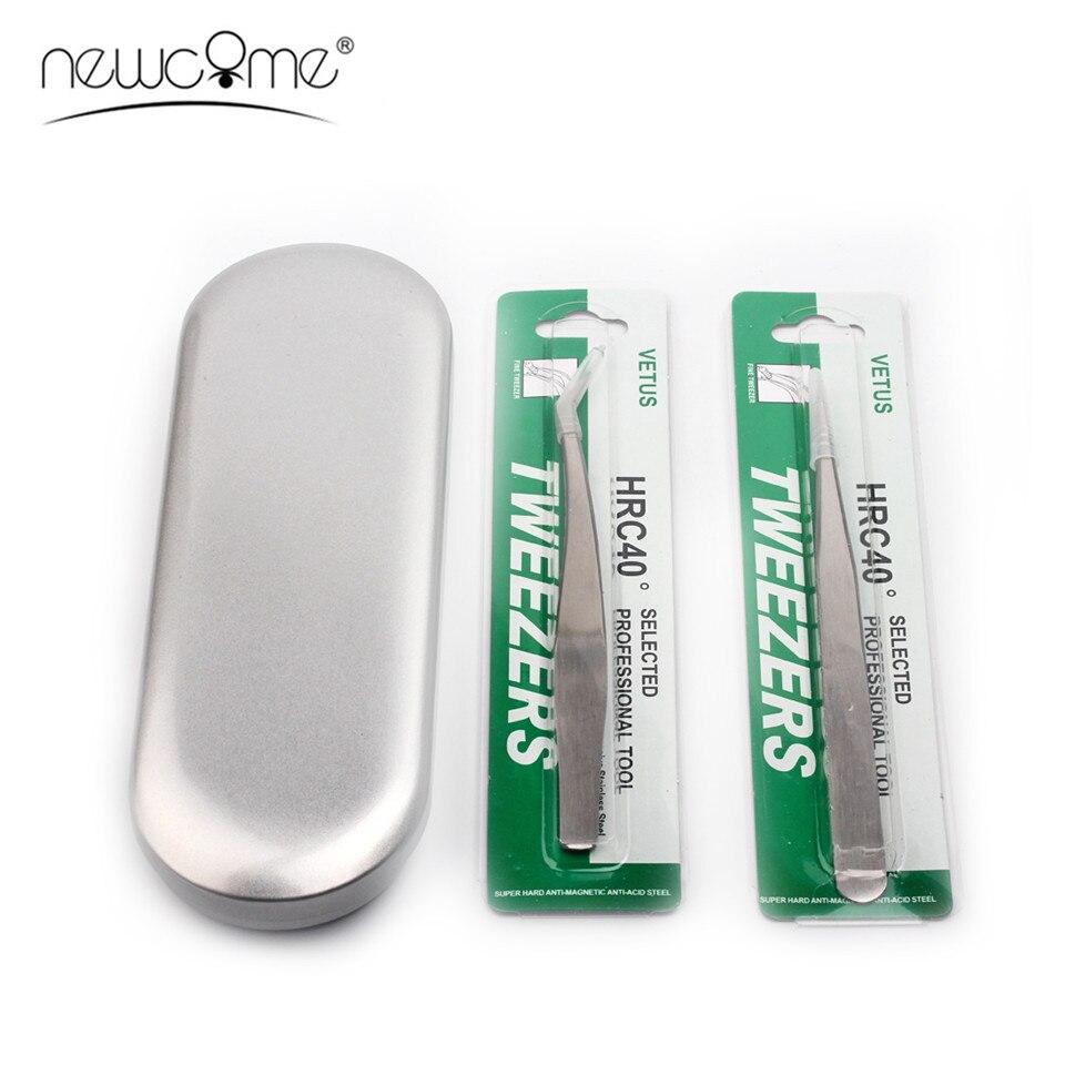 NEWCOME Two Tweezers With Tinplate Storage Box Organizer Case For False Eyelash Extension Salon Makeup Tools