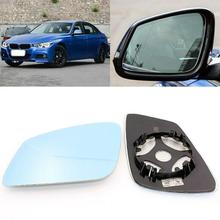 For BMW 3 Series 316 320 328 Side View Door Mirror Blue Glass With Base Heated 1pair l r door wing mirror glass heated blue left right side for bmw x5 e53 99 06 3 0i 4 4i car styling rearview mirror heating