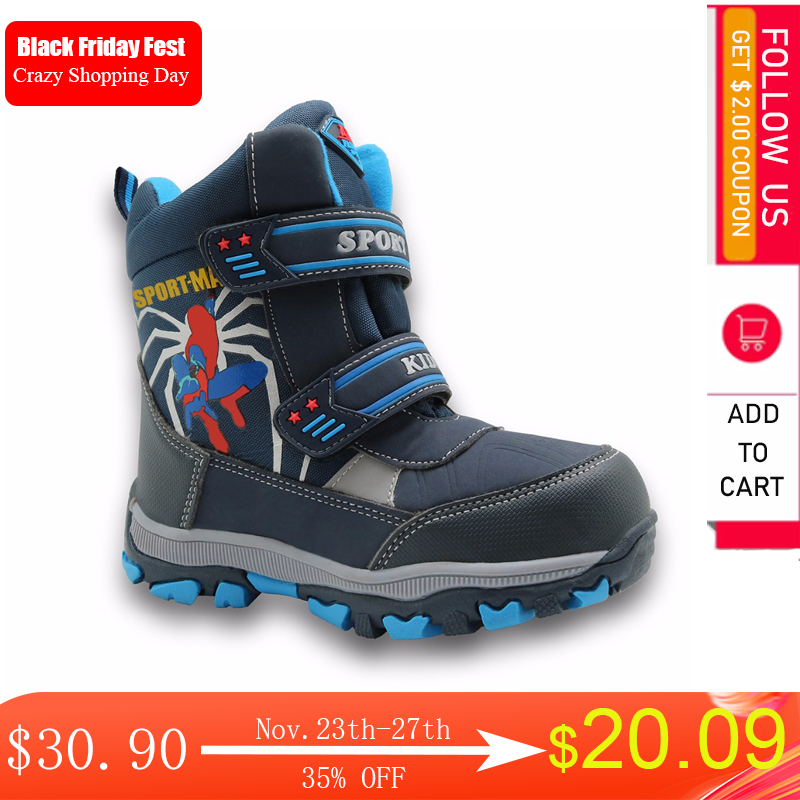 Apakowa winter kids snow boots mid-calf bungee lacing waterproof boys boots big boys sport shoes wollen lining kids winter boots