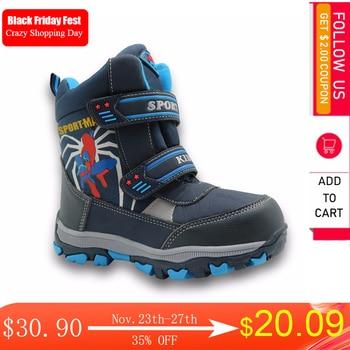 Apakowa winter kids snow boots mid-calf bungee lacing waterproof boys big sport shoes wollen lining