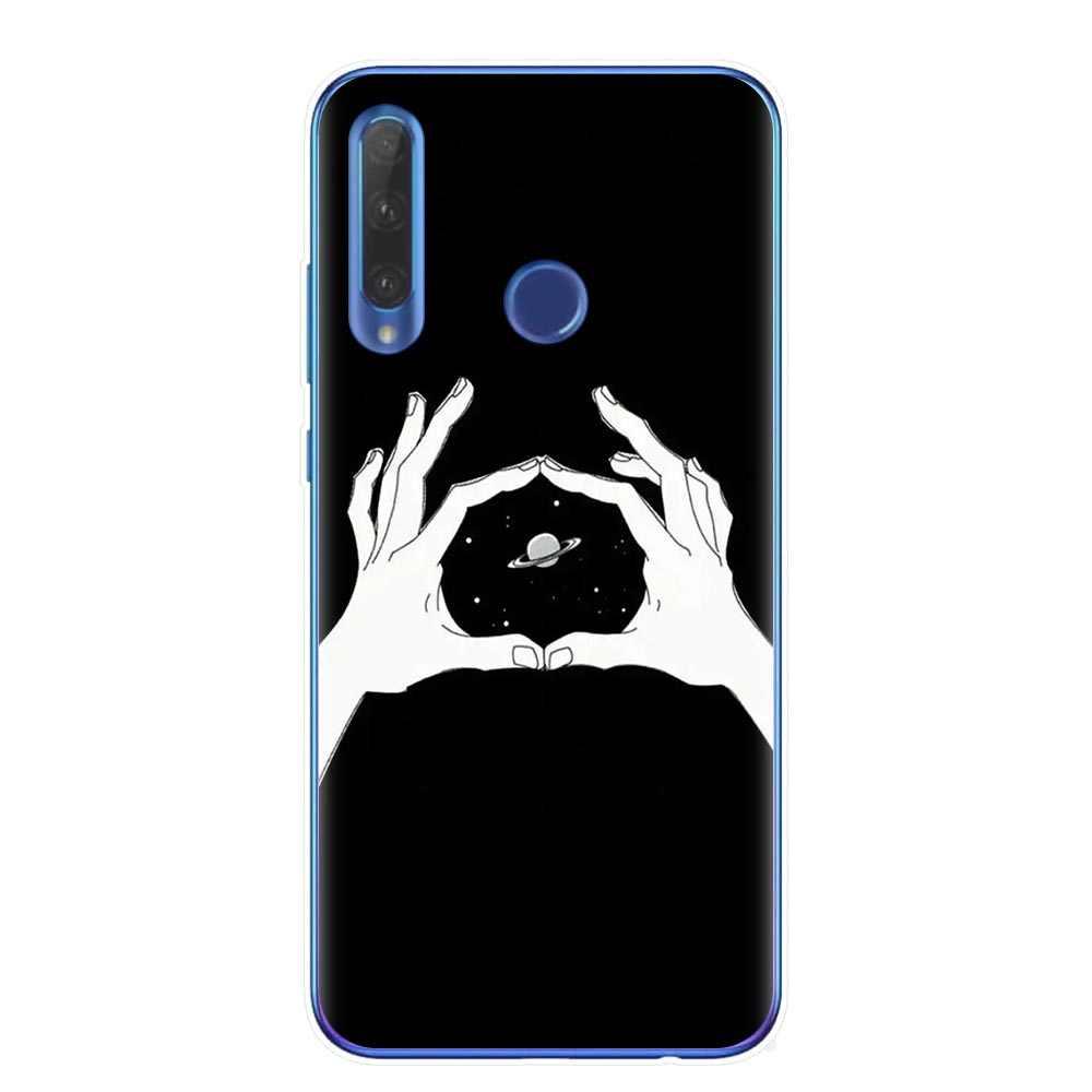 Preto Com Branco Da Lua Estrelas Espaço Astronauta Caso de Telefone Silicone Macio Para Huawei Honor 9 10 20 Lite 10i 8X 8C 9X Pro Cover Coque