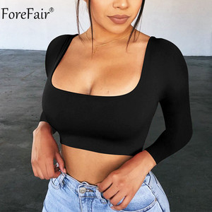 Image 1 - Forefair Square Neck Long Sleeve Crop Top Women Autumn Spring White Black Sexy Solid Party Tee Casual Ladies T Shirt Basic