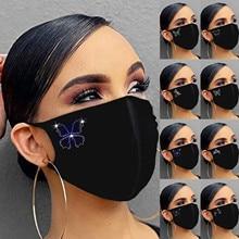 Women Fashion Rhinestone Pattern Mask Washable Reusable Mout
