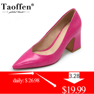 Taoffen New Women Pointed Toe Pumps Solid Color High Heels Shoes Women Concise Office Lady Daily Party Footwear Size 32-43