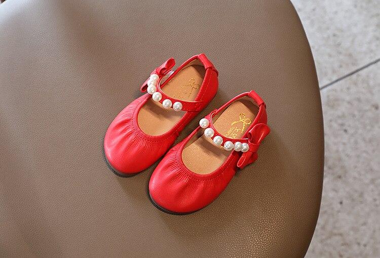 Outono meninas novo arco princesa pérola sapatos
