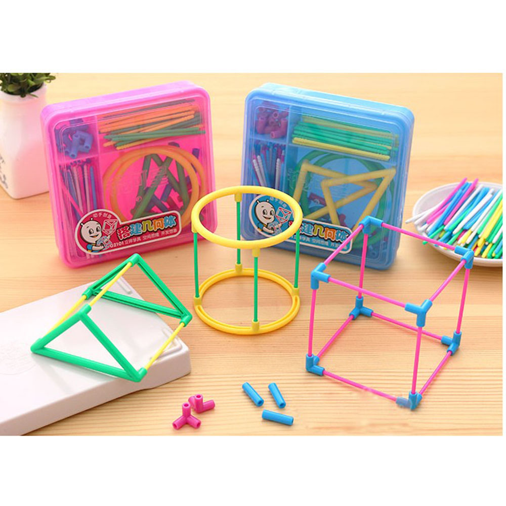 1 Set Primary Mathematics Educational Tools DIY ABS Solid Geometry Model (color Random)