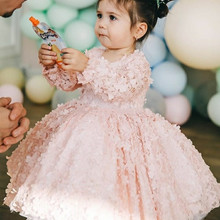 Toddler Girls Dress Pink Floral Lace Girls Birthday Party Dress Long Sleeve Ball Gown Clothes Photography Props