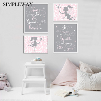 Nursery Quotes Canvas Child Poster Fairy Cartoon Wall Art Print Nordic Kids Decoration Picture Painting Baby Girl Bedroom Decor astronaut spaceship canvas poster nursery quotes wall art print cartoon painting nordic kids decoration pictures baby room decor