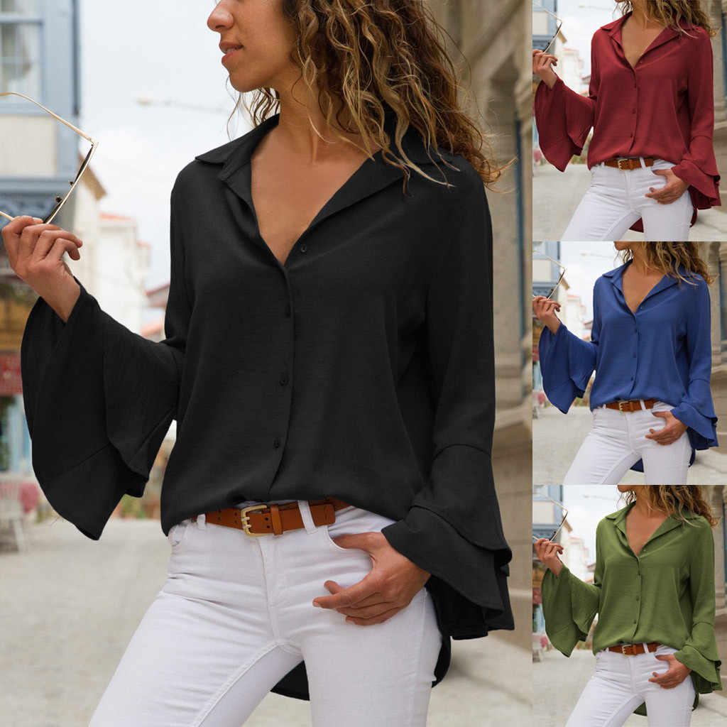 Vrouwen Blouse Vrouwen Casual Solid Button Flare Mouw Turn-down Kraag Blouse Lange Mouwen Tops Блузка Женская Vadim
