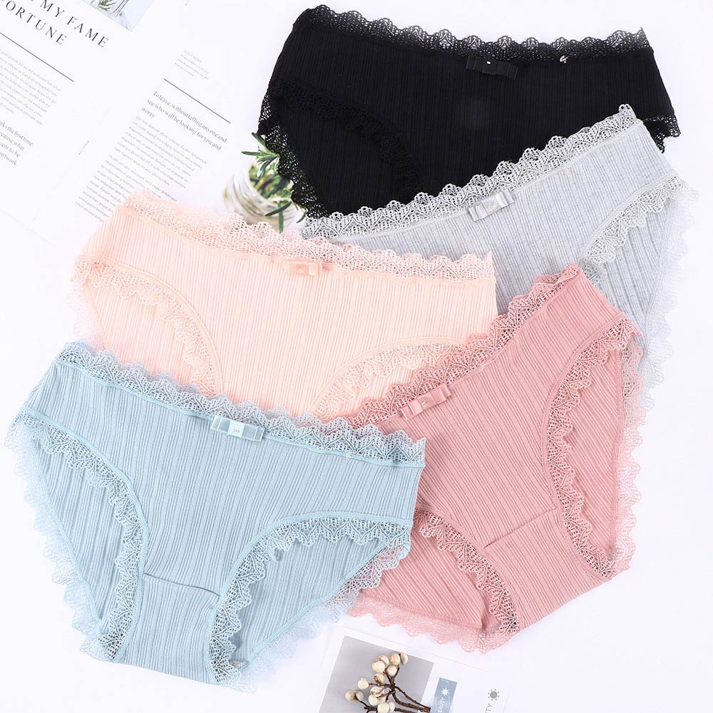 Crotch Soft Panties Solid Thread Panties Breathable Cotton Bowknot Women Panties Intimates Japanese Elastic Sexy Lace