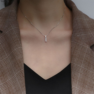 New Arrived 925 Sterling Silver Zircon Rhinestone Strip Shape Pendant Necklaces Women Hot Jewelry Accessories Gift