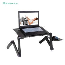 Adjustable Aluminium Meja Laptop Ergonomis TV Portable Bed Lapdesk Tray PC Tabel Stand Notebook Meja Meja Berdiri dengan Mouse Pad(China)