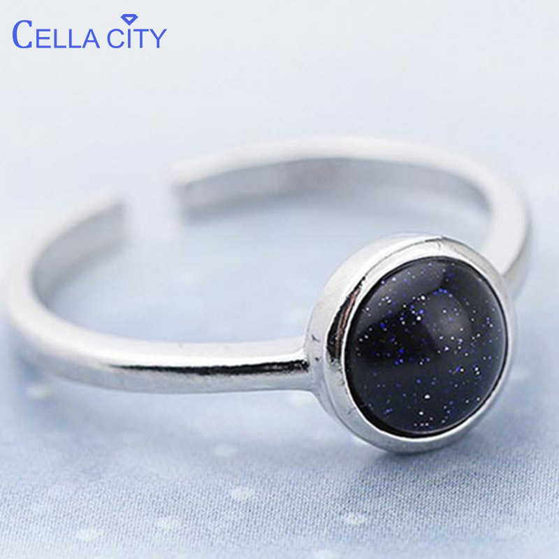 Cellacity trendy new 925 silver ring with round black gemstone charm finger ring for women Anniversary Gifts Jewelry