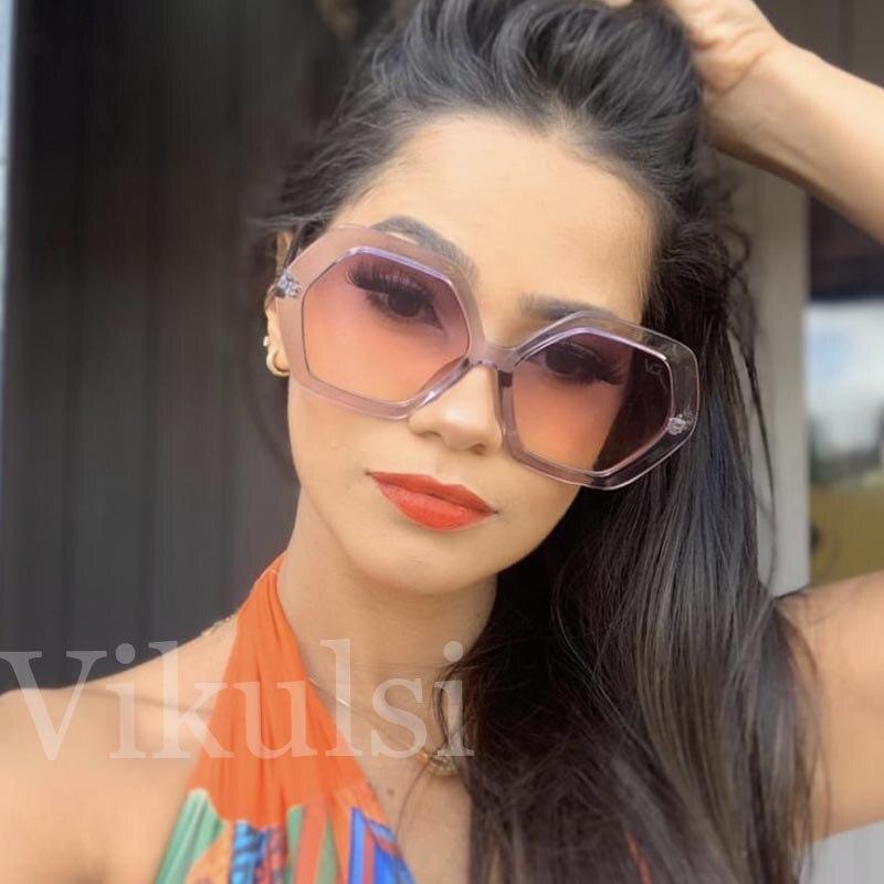 Retro Ladies Hexagon Sunglasses Women Oversized Polygon Sun Glasses Oculos De Sol 2019 Luxury Women Brand Designer Sun Glasses